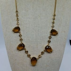 J. Crew Topaz Look Crystal And Gold Necklace
